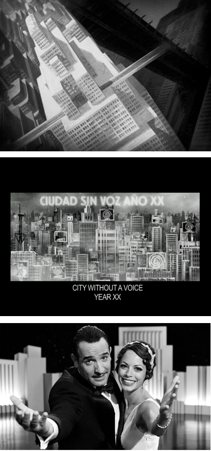 Stills from Metropolis, La Antena and The Artist