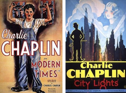 Posters for Chaplin's Modern Times and City Lights