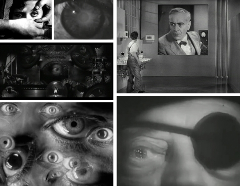 The all-seeing silent eye of the camera (clockwise): Un Chien Andalou (1929), Samuel Beckett's silent Film (1965), Modern Times, Buster Keaton in Samuel Beckett's silent Film (1965) again, Metropolis and La Antena. For Bunuel and Beckett eyes are used to deal with issues of perception and reality, whereas in Metropolis and Modern Times they have a more Orwellian purpose.