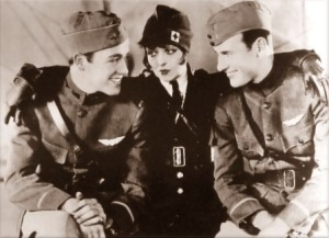 Charles 'Buddy' Rogers, Clara Bow and Richard Arlen in Wings (1927)