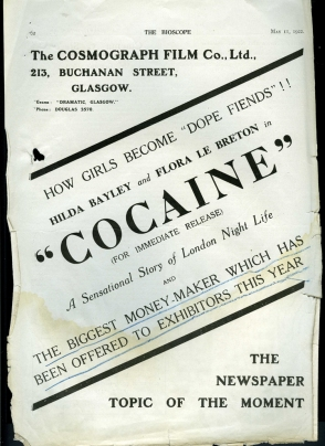 Trade ad for the scandalous Cocaine (Graham Cutts, 1922)