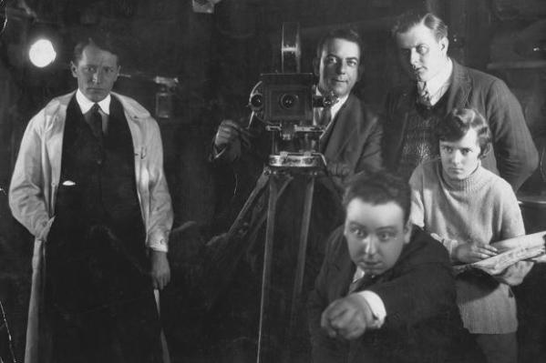 Alfred Hitchcock and Alma Reville filming The Mountain Eagle