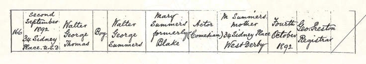 Walter Summers' birth certificate