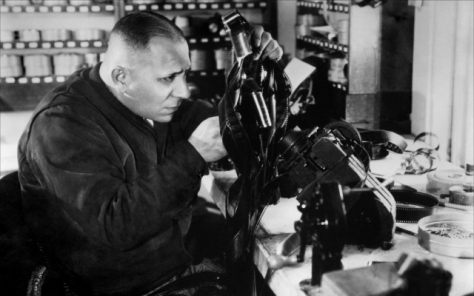 Erich Von Stroheim in the editing room