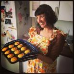 Jenny Hammerton with a tray of Marion Davies' cheese patties, hot from the oven. Photograph: Nathalie Morris