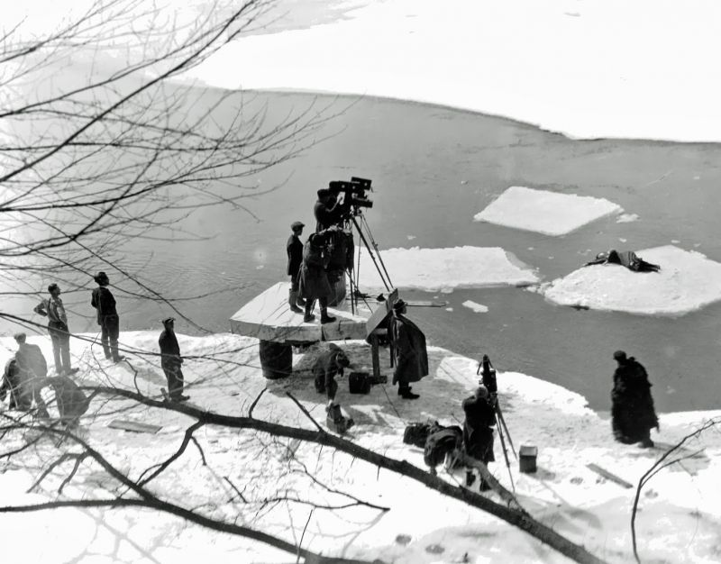 Filming the climax of Way Down East (1920)