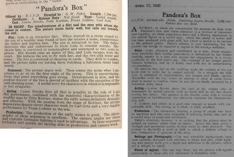The Bioscope, v83 n1228 16 Apr 1930, pp. 34 (left); Kine Weekly, 17 April, 1930 (right)