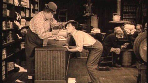 Roscoe Arbuckle and Buster Keaton in The Butcher Boy (1917)