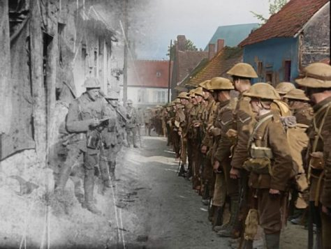 Colourised film still, originally from 'The Battle of the Somme' c/o WingNut Films