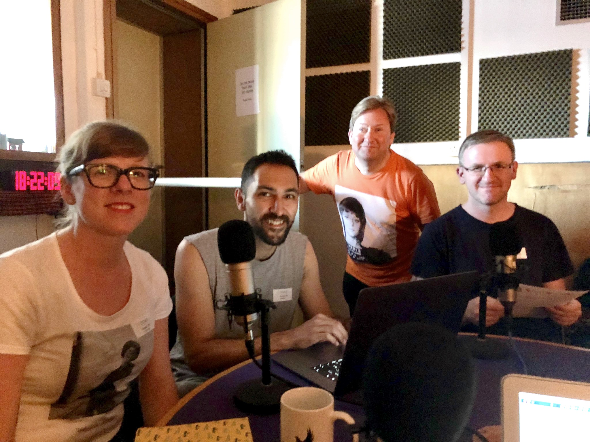 Eloise Ross, Ian Mantgani, Peter Baran and Philip Concannon in the podcast studio.